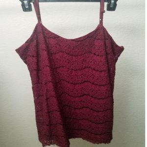 Love, Fire Burgundy Fringe Lace Sleeveless Dress L